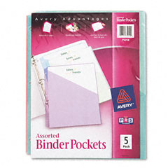 Avery - ring binder polypropylene pockets, 8-1/2 x 11, assorted colors, 5 pockets/pack, sold as 1 pk
