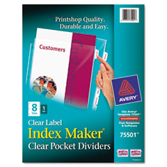 Avery - index maker clear label three-hole punch view dividers, letter, 8/set, sold as 1 st