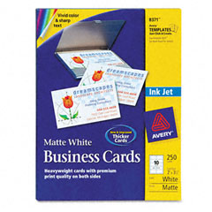 Avery - inkjet matte business cards, 2 x 3 1/2, white, 10/sheet, 250/pack, sold as 1 pk