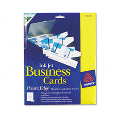 Avery - inkjet glossy business cards, 2 x 3 1/2, white, 8/sheet, 200/box, sold as 1 bx