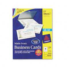 Avery - inkjet matte business cards, 2 x 3 1/2, ivory, 10/sheet, 250/pack, sold as 1 pk