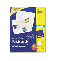 Avery - inkjet-compatible postcards, 4-1/4 x 5-1/2, four per sheet, 200 cards/box, sold as 1 bx