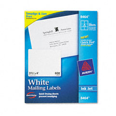 Avery 8464 Shipping Labels With Trueblock Technology, 3-1/3 X 4, White, 600/Box
