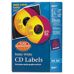 Avery - inkjet cd/dvd labels, matte white, 100/pack, sold as 1 pk