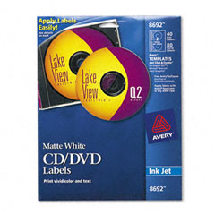 Avery - inkjet cd/dvd labels, matte white, 40/pack, sold as 1 pk