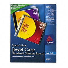 Avery - inkjet cd/dvd jewel case inserts, matte white, 20/pack, sold as 1 pk