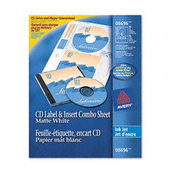 Avery - cd/dvd inkjet labels/inserts, matte white, 20 labels and 20 inserts, sold as 1 pk