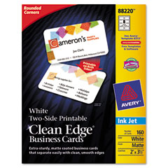 Avery - clean edge inkjet business cards, white, round edge, 2 x 3 1/2, 160 cards/pk, sold as 1 pk