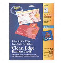 Avery - inkjet matte business cards, 2 x 3 1/2, white, 8/sheet, 160/pack, sold as 1 pk