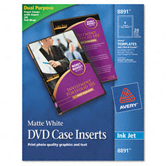 Avery - inkjet dvd case inserts, matte white, 20/pack, sold as 1 pk