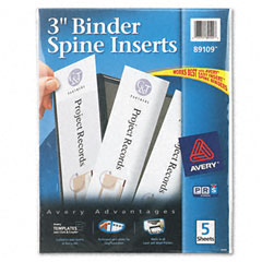 Avery - custom binder spine inserts, 3-inch spine width, 3 inserts/sheet, 5 sheets/pack, sold as 1 pk