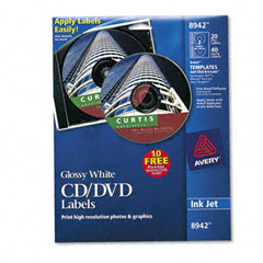 Avery - inkjet cd/dvd labels, glossy white, 20/pack, sold as 1 pk