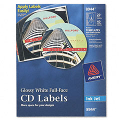 Avery - inkjet full-face cd labels, glossy white, 20/pack, sold as 1 pk