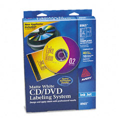 Avery - cd/dvd design kit, matte white, 40 inkjet labels and 10 inserts, sold as 1 kt