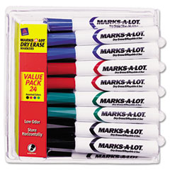 Marks-a-lot - desk style dry erase markers, chisel tip, assorted, 24/pack, sold as 1 pk