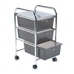Advantus - portable drawer organizer, 15-1/2w x 13d x 27h, chrome/smoke, sold as 1 ea