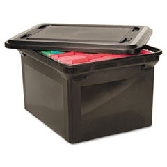 Advantus - file tote storage box w/lid, legal/letter, plastic, black, sold as 1 ea