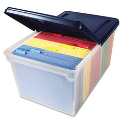 Innovative storage designs - file tote storage box with lid, letter, plastic, clear/navy, sold as 1 ea