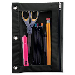 Advantus - binder pencil pouch, 10 x 7 3/8, black/clear, sold as 1 ea