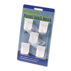 Advantus 75303 Panel Wall Hooks, Plastic With Metal Insert Points, White, 5/Pack
