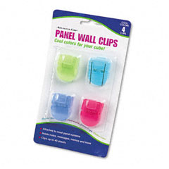Advantus 75306 Fabric Panel Wall Clips, Standard Size, Assorted Cool Colors, 4/Pack
