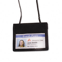 Advantus - id badge holder w/convention neck pouch, horizontal, 4w x 2 1/4h, black, 12/pack, sold as 1 pk