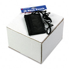 Advantus - id badge holder w/convention neck pouch, vertical, 2 1/4w x 3 1/2, black, 12/pk, sold as 1 pk