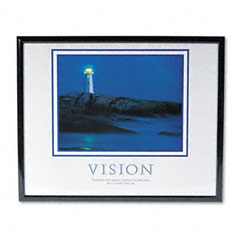 Advantus 78018 Vision Lighthouse Framed Motivational Print, 30 X 24