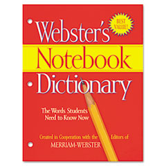 Merriam webster - notebook dictionary, three hole punched, paperback, 80 pages, sold as 1 ea