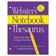 Merriam webster - notebook thesaurus, three-hole punched, paperback, 80 pages, sold as 1 ea