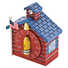 Baumgartens - shaped timer, 3/4w x 2d x 3 1/2h, red school house, sold as 1 ea