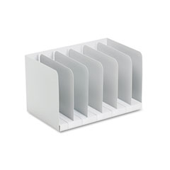 Buddy Products Six Section Book Rack w/Dividers, Steel, 15 x 9 1/4 x 9 1/4, Platinum