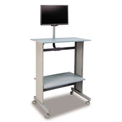 Buddy 6464-18 Space-Saving Fixed Height Workstation, 29W X 20D X 56H, Gray