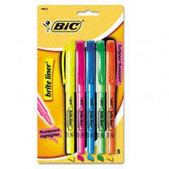 Bic - brite liner highlighter, chisel tip, fluorescent, 5 per set, sold as 1 st