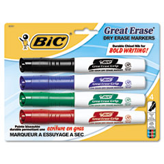Bic - great erase grip xl dry erase markers, chisel, assorted, 4/set, sold as 1 st