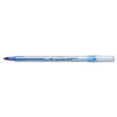 Bic - round stic ballpoint stick pen blue ink, fine, dozen, sold as 1 dz