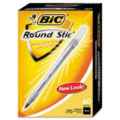 Bic GSM609-BK Round Stic Ballpoint Pen, Black Ink, Medium Point, 1.0 Mm, 60 Per Box