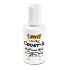 Bic - cover-it correction fluid, 20 ml bottle, white, sold as 1 ea