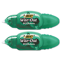 Bic - wite-out ecolutions mini correction tape, white, 1/5-inch x 235-inch, 2/pack, sold as 1 pk