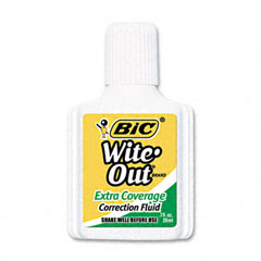 Bic - wite-out extra coverage correction fluid, 20 ml bottle, white, 12/pack, sold as 1 dz