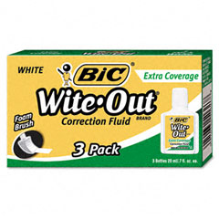 Bic - wite-out extra coverage correction fluid, 20 ml bottle, white, 3/pack, sold as 1 pk