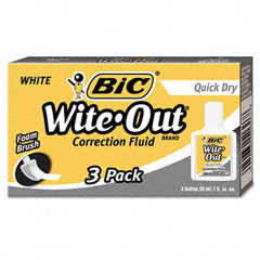 Bic - wite-out quick dry correction fluid, 20 ml bottle, white, 3/pack, sold as 1 pk