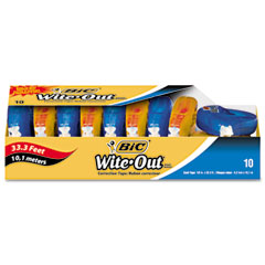 Bic - wite-out ez correct correction tape, non-refillable, 1/6-inch x 472-inch, 10/pack, sold as 1 bx