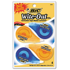 Bic - wite-out ez correct correction tape, non-refillable, 1/6-inch x 400-inch, 4/pack, sold as 1 pk