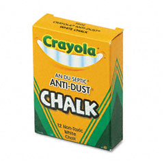 Crayola - nontoxic anti-dust chalk, white, 12 sticks/box, sold as 1 bx