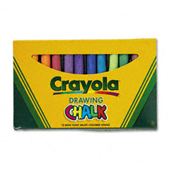 Crayola - colored drawing chalk, assorted colors 12 sticks/set, sold as 1 st