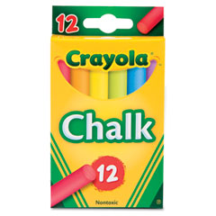 Crayola - chalk, assorted colors, 12 sticks/box, sold as 1 bx