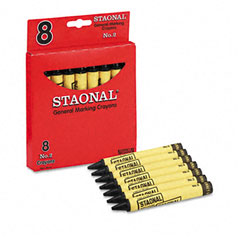 Crayola - staonal marking crayons, black, 8/box, sold as 1 bx