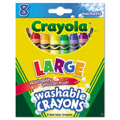 Crayola - washable crayons, large, 8 colors/box, sold as 1 bx