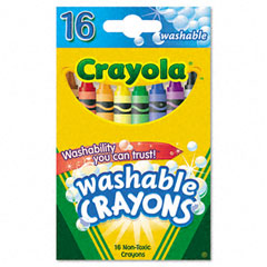 Crayola - washable crayons, regular, 8 colors, 16/box, sold as 1 bx